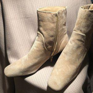 AJ Valenci women  light tan leather suede boots, s